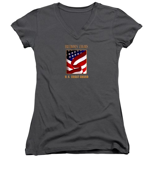 Freedom's Colors Uscg Women's V-Neck T-Shirt