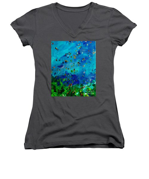 Women's V-Neck T-Shirt (Junior Cut) featuring the painting Freelancing  by Reina Resto