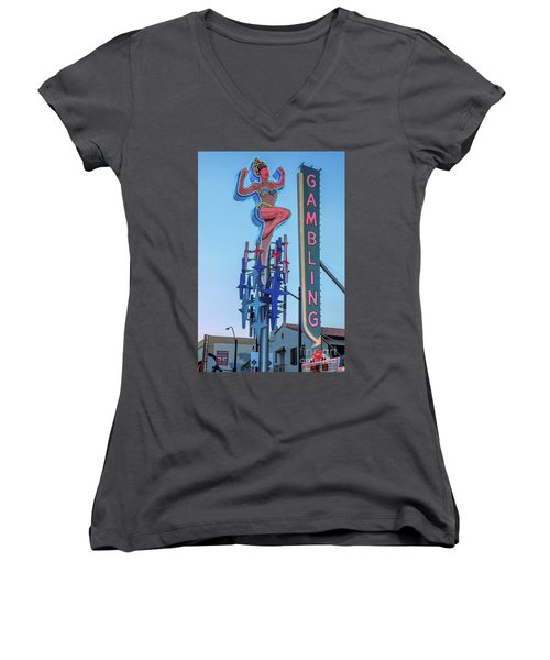 Fremont Street Lucky Lady And Gambling Neon Signs Women's V-Neck T-Shirt (Junior Cut) by Aloha Art