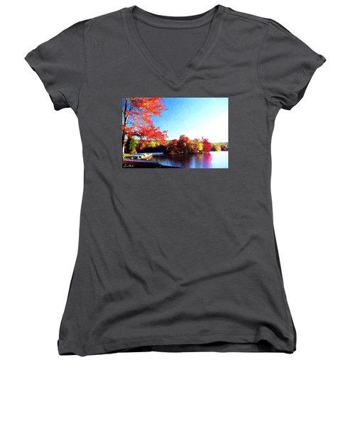 French Creek Fall 020 Women's V-Neck T-Shirt (Junior Cut) by Scott McAllister
