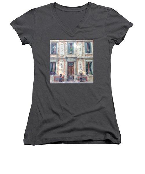 French Door Women's V-Neck T-Shirt (Junior Cut) by Catherine Alfidi
