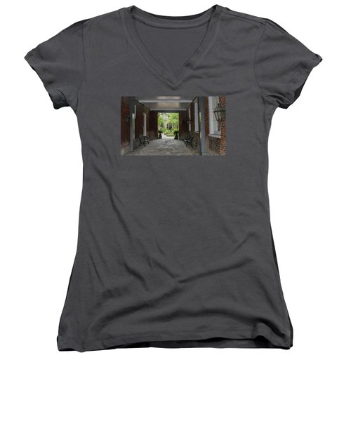 French Quarter Courtyard Women's V-Neck T-Shirt (Junior Cut) by Mark Barclay