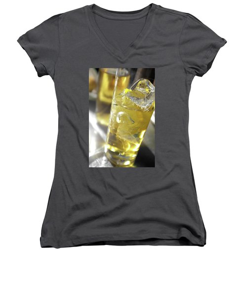 Women's V-Neck T-Shirt (Junior Cut) featuring the photograph Fresh Drink With Lemon by Carlos Caetano