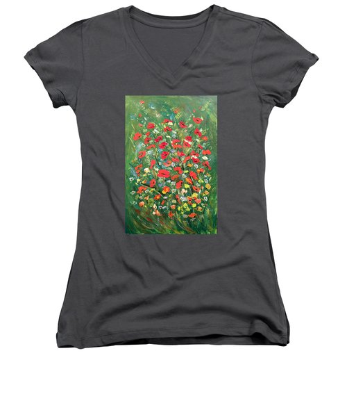Women's V-Neck T-Shirt (Junior Cut) featuring the painting Fresh Poppies From The Garden by Dorothy Maier