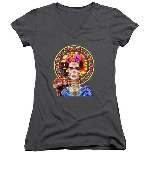 Frida De Muertos Women's V-Neck T-Shirt