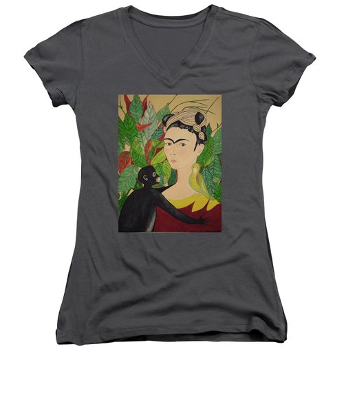 Frida With Monkey And Bird Women's V-Neck T-Shirt (Junior Cut) by Stephanie Moore