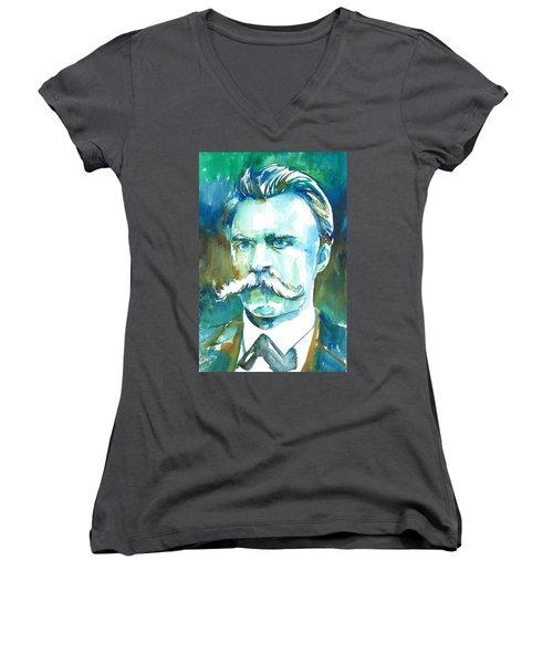 Friedrich Nietzsche Watercolor Portrait.1 Women's V-Neck T-Shirt