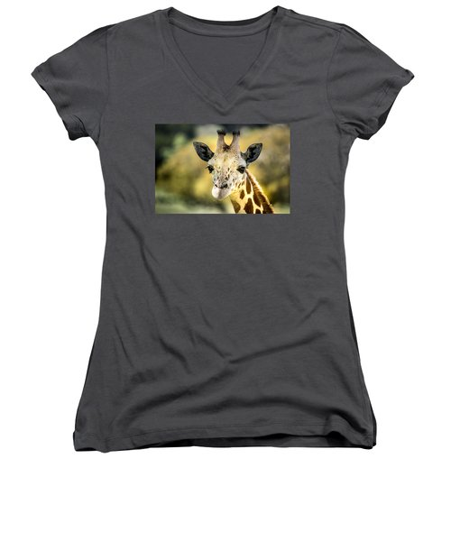 Friendly Giraffe Portrait Women's V-Neck T-Shirt (Junior Cut) by Janis Knight