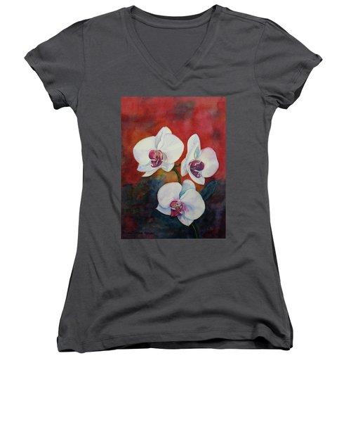 Women's V-Neck T-Shirt (Junior Cut) featuring the painting Friends by Anna Ruzsan