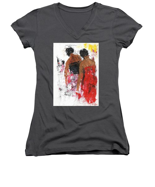 Women's V-Neck featuring the painting Friends by Asha Sudhaker Shenoy
