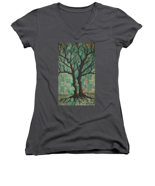 Women's V-Neck T-Shirt (Junior Cut) featuring the painting Friends by Jacqueline Athmann