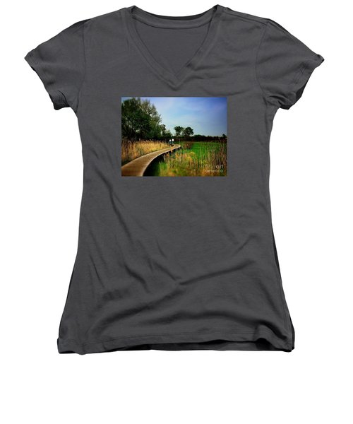 Friends Walking The Wetlands Trail Women's V-Neck
