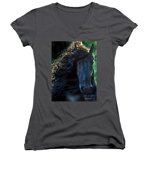 Friesian Glimmer Women's V-Neck T-Shirt (Junior Cut) by Ruanna Sion Shadd a'Dann'l Yoder