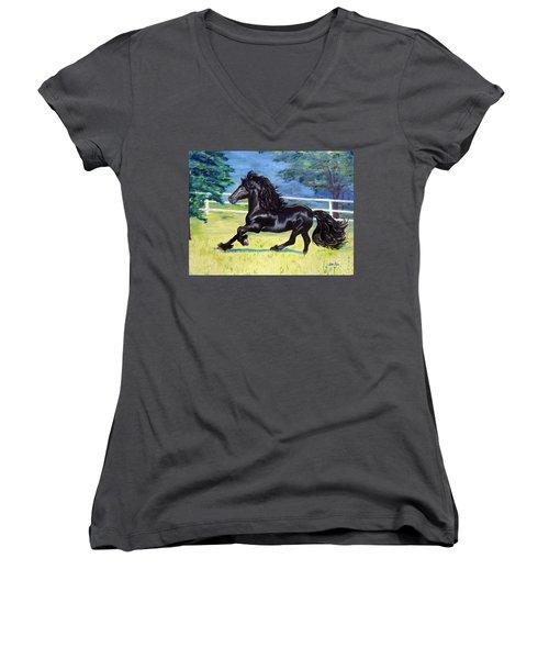 Friesian, Run Like The Wind Women's V-Neck T-Shirt (Junior Cut) by Lisa Rose Musselwhite