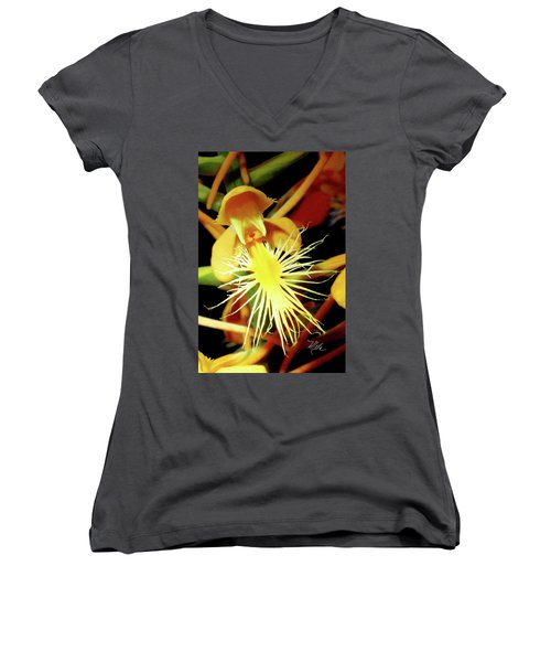 Women's V-Neck T-Shirt (Junior Cut) featuring the photograph Fringed Yellow Orchid by Meta Gatschenberger