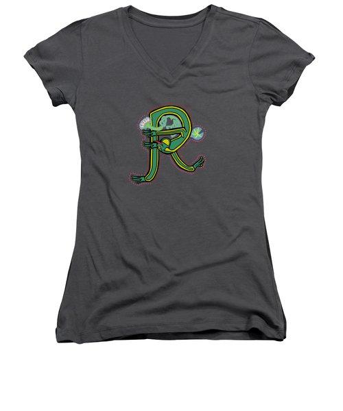 Frog Letter R Blue Women's V-Neck T-Shirt