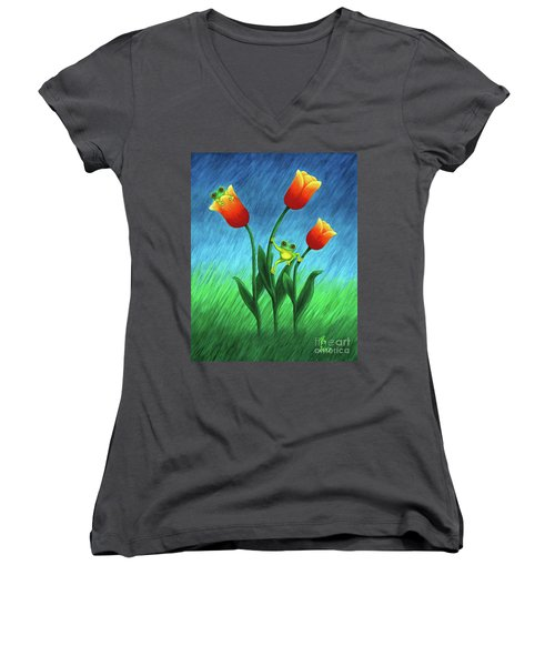Froggy Tulips Women's V-Neck (Athletic Fit)