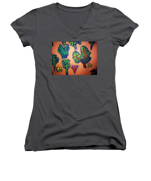 Women's V-Neck T-Shirt (Junior Cut) featuring the painting From The Earth 2 by Winsome Gunning