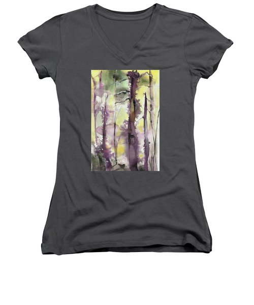 Women's V-Neck T-Shirt (Junior Cut) featuring the painting From The Fire by Nadine Dennis