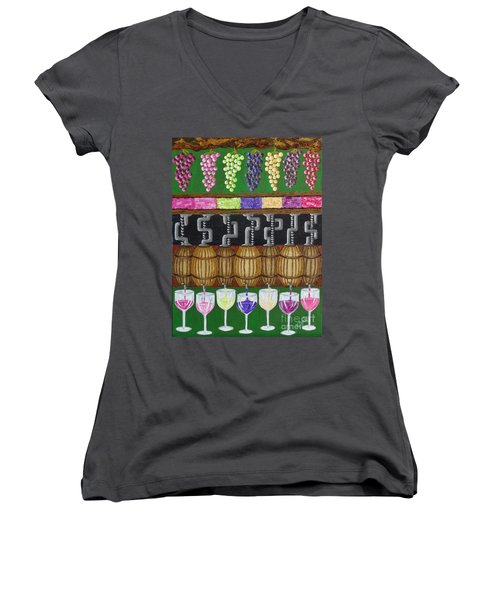 Women's V-Neck T-Shirt (Junior Cut) featuring the painting From Vine To Wine by Katherine Young-Beck