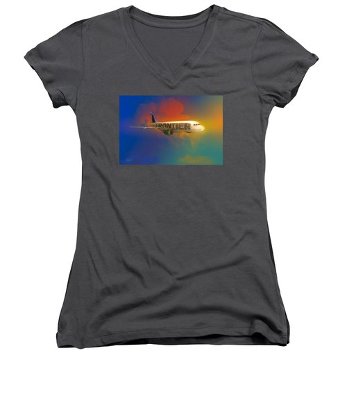 Frontier Airbus A-319 Women's V-Neck T-Shirt (Junior Cut) by J Griff Griffin