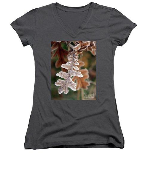 Frost Covered Oak Leaf Women's V-Neck (Athletic Fit)