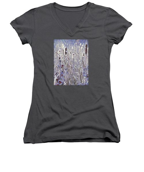 Frosted Cattails In The Morning Light Women's V-Neck T-Shirt (Junior Cut) by Joy Nichols