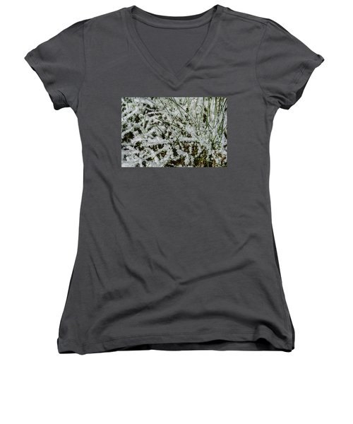 Frosty Grass Women's V-Neck T-Shirt (Junior Cut) by Deborah Smolinske