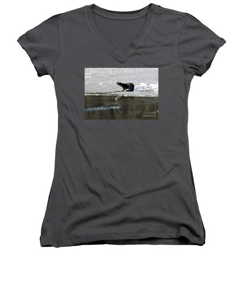 Frosty River Otter  Women's V-Neck T-Shirt (Junior Cut) by Mike Dawson