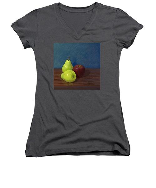 Fruit On A Table Women's V-Neck T-Shirt (Junior Cut) by Jacqueline Barden