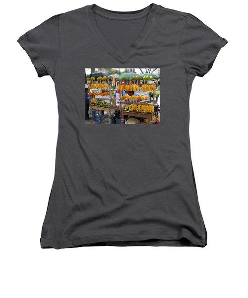 Fruit Stand Antigua  Guatemala Women's V-Neck T-Shirt