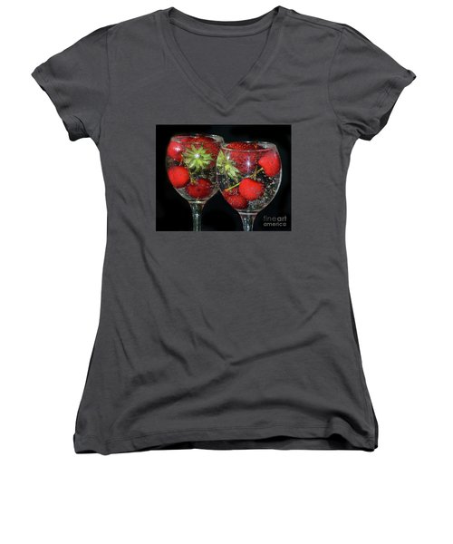 Women's V-Neck T-Shirt (Junior Cut) featuring the photograph Fruits In Glass by Elvira Ladocki