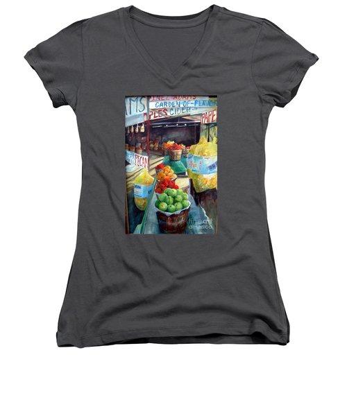 Fruitstand Rhythms Women's V-Neck T-Shirt