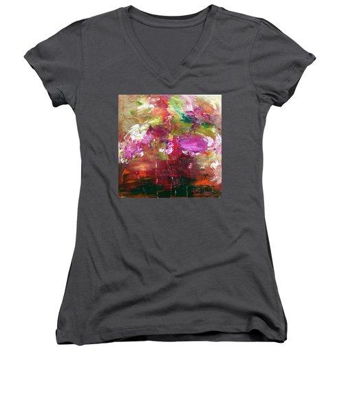 Fuchsia Burst Women's V-Neck T-Shirt