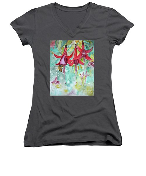 Women's V-Neck T-Shirt (Junior Cut) featuring the painting  Fuchsia by Jasna Dragun