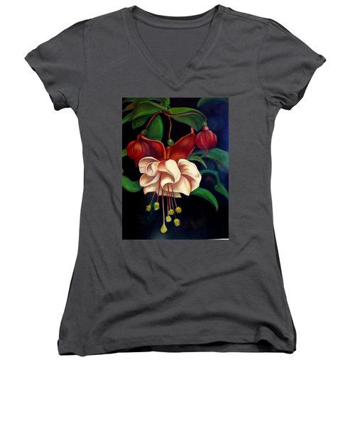 Women's V-Neck T-Shirt (Junior Cut) featuring the painting Fuchsias by Irena Mohr