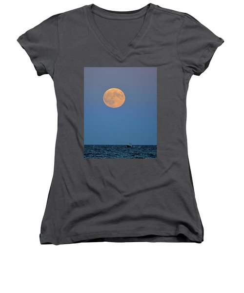 Full Blood Moon Women's V-Neck T-Shirt