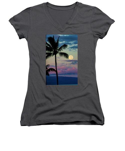 Full Moon And Palm Trees Women's V-Neck