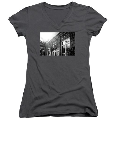 Women's V-Neck T-Shirt (Junior Cut) featuring the photograph Full Moon Cafe by David Sutton