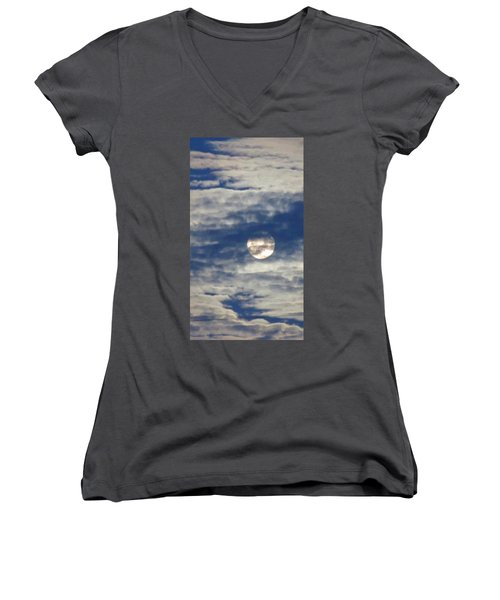 Full Moon In Gemini With Clouds Women's V-Neck