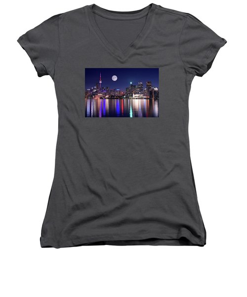Full Moon In Toronto Women's V-Neck (Athletic Fit)