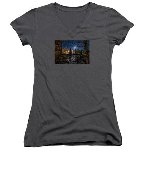 Full Moon Over Breckenridge Women's V-Neck T-Shirt (Junior Cut) by Michael J Bauer