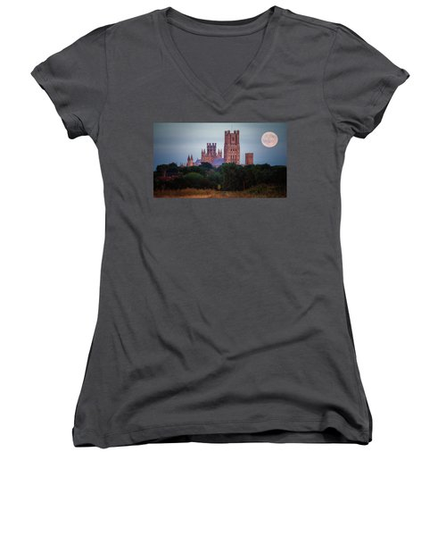 Full Moon Over Ely Cathedral Women's V-Neck
