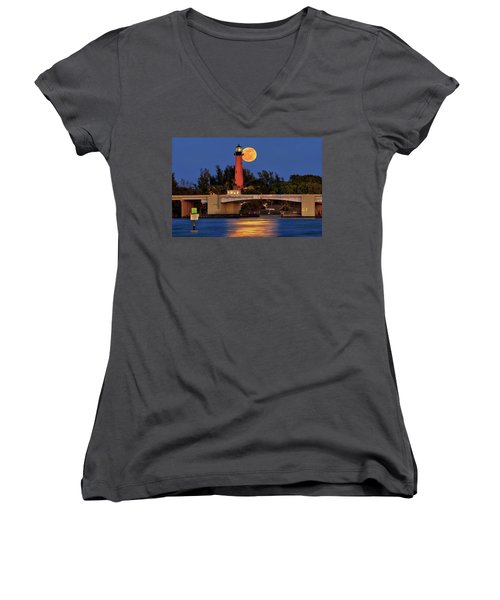 Full Moon Over Jupiter Lighthouse, Florida Women's V-Neck