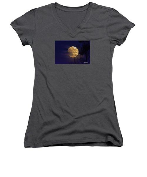 Full Moon Rise  Women's V-Neck T-Shirt (Junior Cut) by Stephen  Johnson