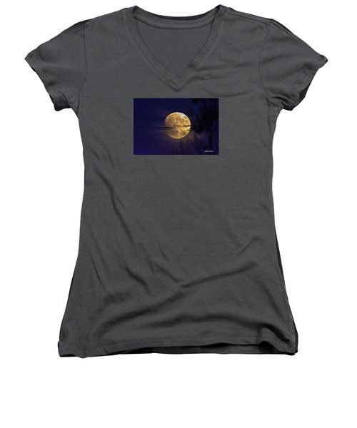 Full Moon Rise  Women's V-Neck T-Shirt