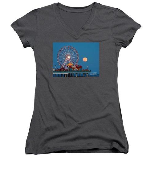 Full Moon Rising Above The Gulf Of Mexico - Historic Pleasure Pier - Galveston Island Texas Women's V-Neck