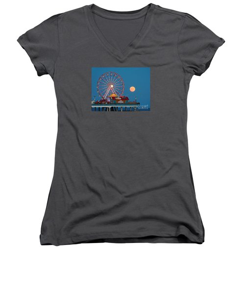 Full Moon Rising Above The Gulf Of Mexico - Historic Pleasure Pier - Galveston Island Texas Women's V-Neck (Athletic Fit)
