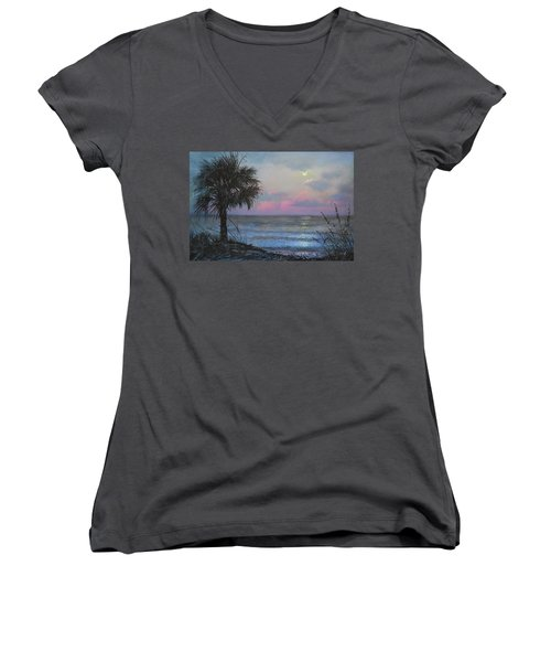 Full Moon Rising Women's V-Neck (Athletic Fit)