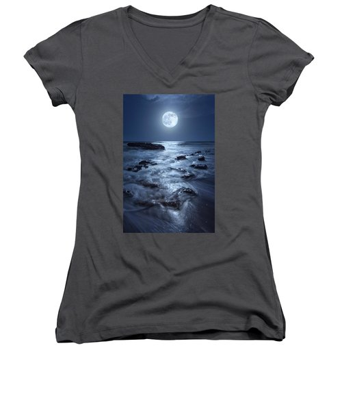 Full Moon Rising Over Coral Cove Beach In Jupiter, Florida Women's V-Neck